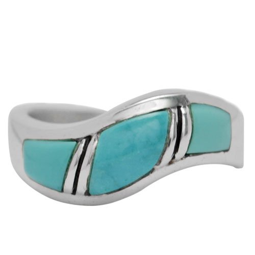 Cobble Cut Silver Inlay Wave Ring