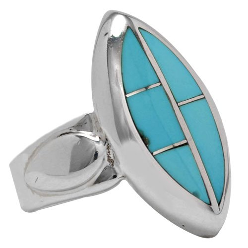 Vertical Marquise Tile Silver Inlay Ring
