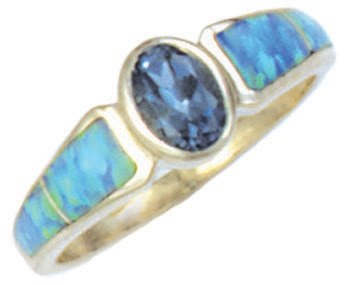 Tapered Silver Inlay Ring With Oval Gemstone