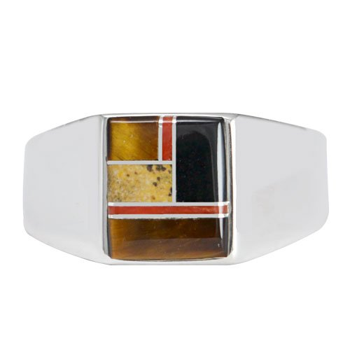 Square Topped Silver Men's Inlay Ring