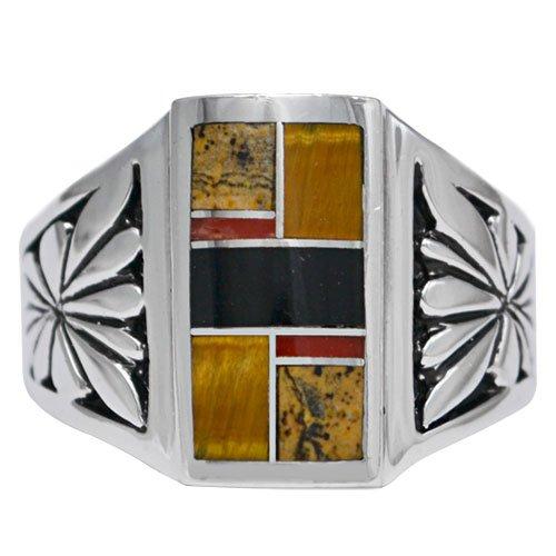 Men's Sunburst Inlay Ring