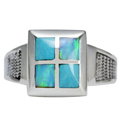 Corrugated Band Men's Inlay Ring