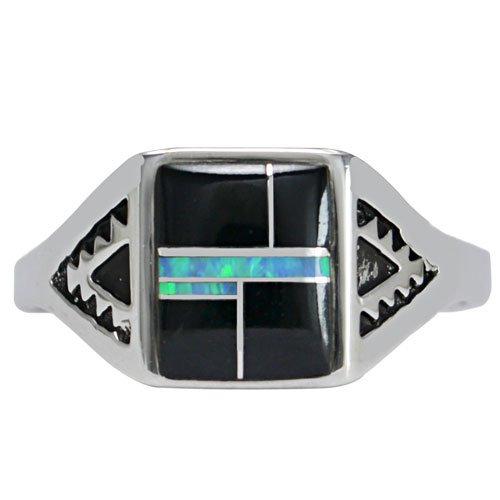Square Top Silver Inlay Ring With Mountain Stamped Shank