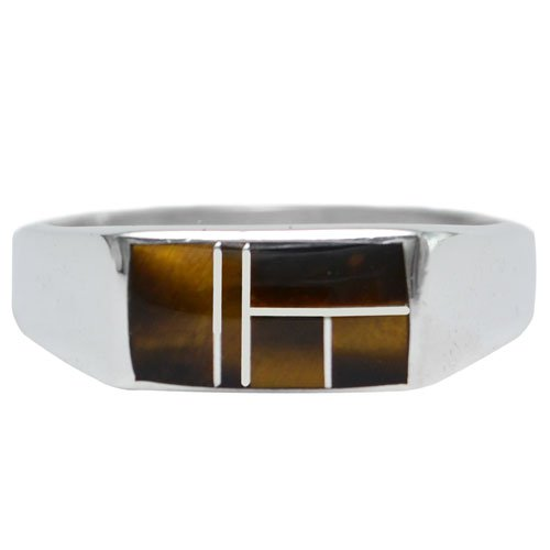 Rectangle Top Silver Inlay Ring