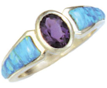 Tapered Cobble Cut Silver Inlay Ring With Oval Gemstone