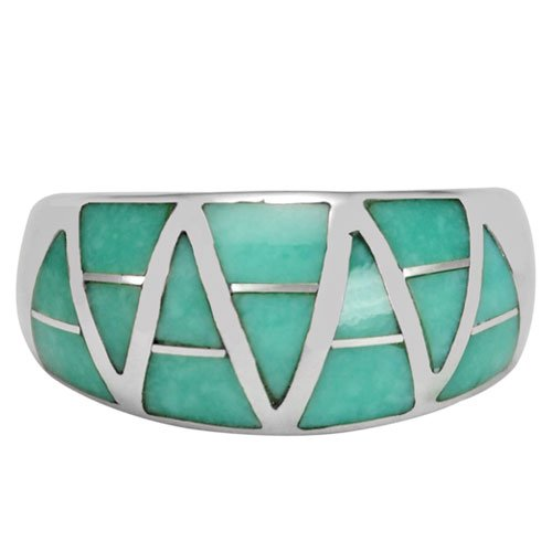 Domed Trillion Silver Inlay Ring