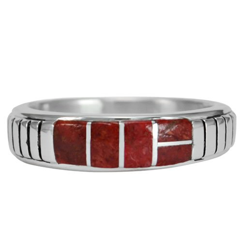 Ribbed Silver Inlay Band Ring