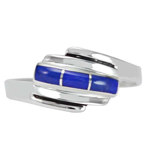 Cross Over Silver Inlay Band Ring