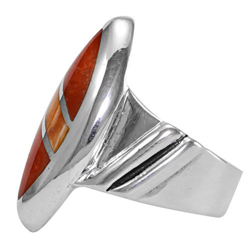 Marquise Diagonal Silver Inlay Ring