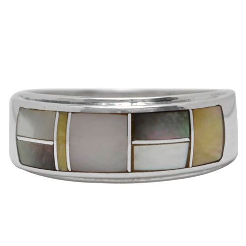Smooth Side Step Wide Silver Inlay Ring