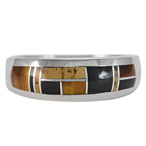 Straight Silver Men's Inlay Band Ring