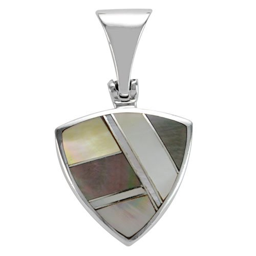 Large Sized Trillion Silver Inlay Pendant