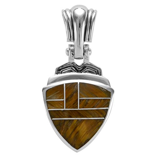 Large Trillion Silver Inlay Mountain Valley Pendant