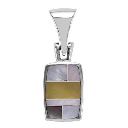 Rectangle Cushion Silver Inlay Pendant
