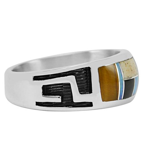 Silver Inlay Men's Ring With Cut Out Over Lay Design