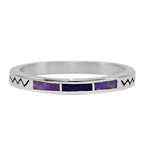 Three Stone Silver Inlay Zig Zag Band Ring