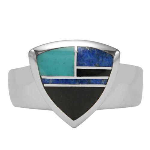Trillion Silver Inlay Ring