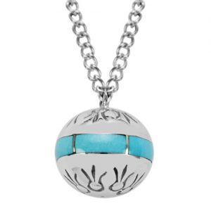 Silver Sphere Stamped Necklace/Pendant