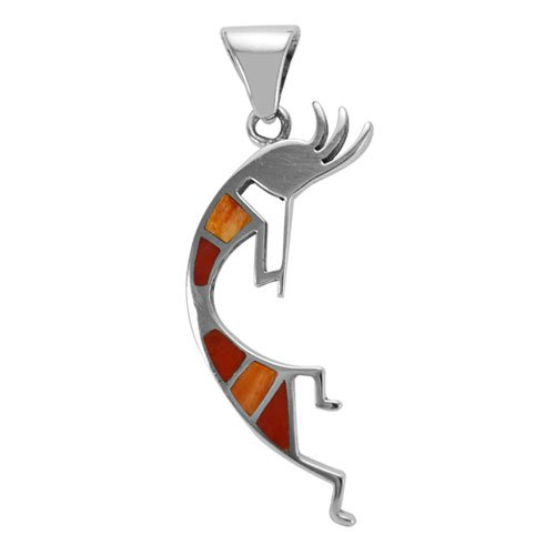 Small Kokopelli Silver Inlay Pendant