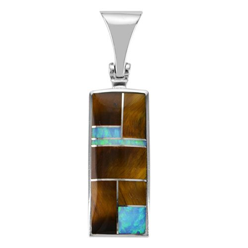 Rectangle Silver Inlay Pendant