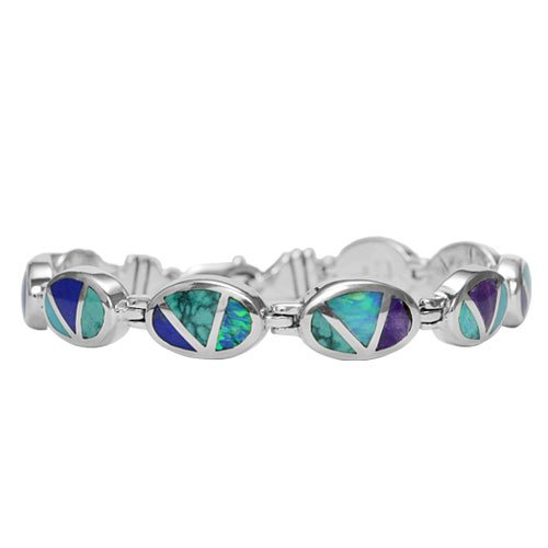 Oval Silver Channel Inlay Tennis Bracelet