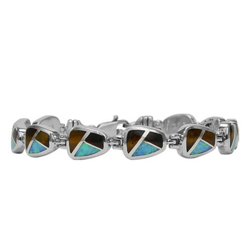 Square 22mm Cushion Silver Inlay Link Bracelet