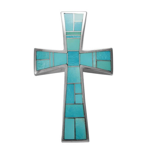 Large Tapered Silver Inlay Cross Pendant