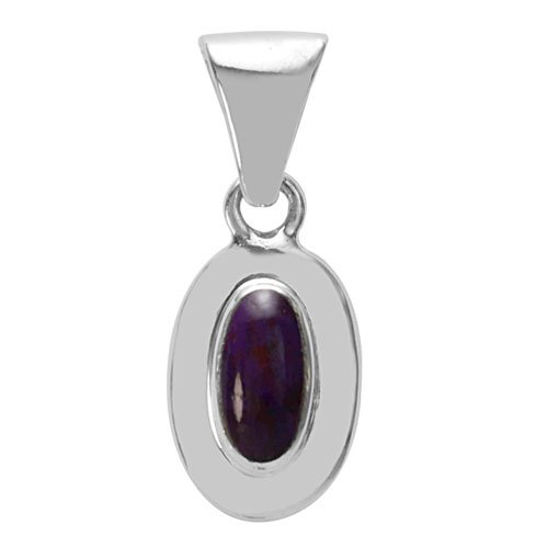 Small Oval Domed Silver Inlay Pendant
