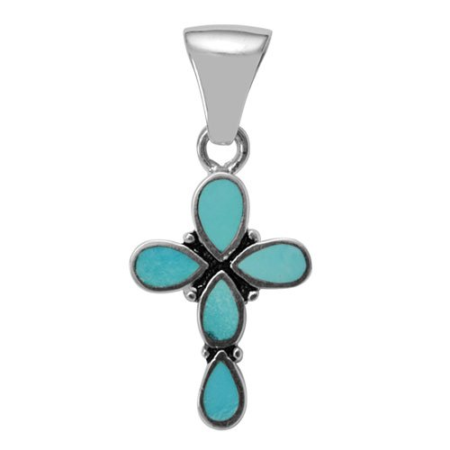 Small Teardrop Silver Inlay Cross Pendant