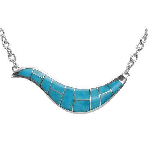Large Silver Inlay Wave Necklace