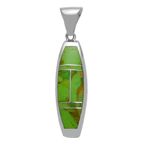 Tapered Verticle Silver Inlay Pendant