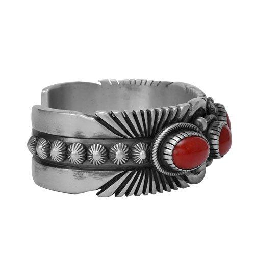 Navajo Old Style Five Oval Stone Coral Bracelet