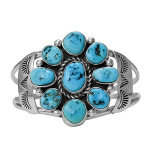 Navajo Central Cluster Bracelet With Side Stamped Covers