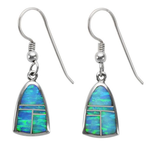 Elongated Bell Shaped Silver Inlay Earrings