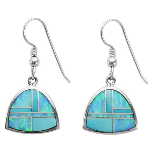 Bell Shaped Silver Inlay Earrings