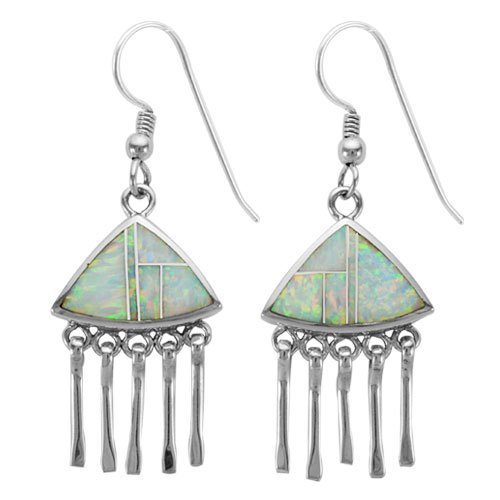 Trillion Faux Chandelier Silver Inlay Earrings