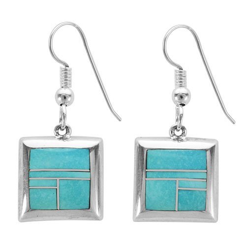 Square Silver Half Round Border Silver Inlay Earrings