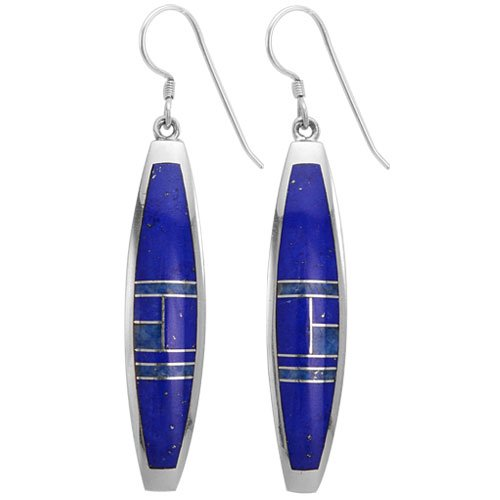 Long Rectangle Shape Silver Inlay Earrings