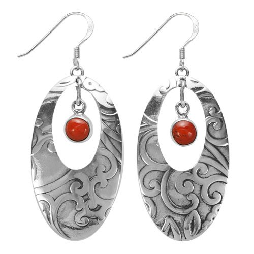 Navajo Silver Oval Cutout With Bezeled Stone Earrings