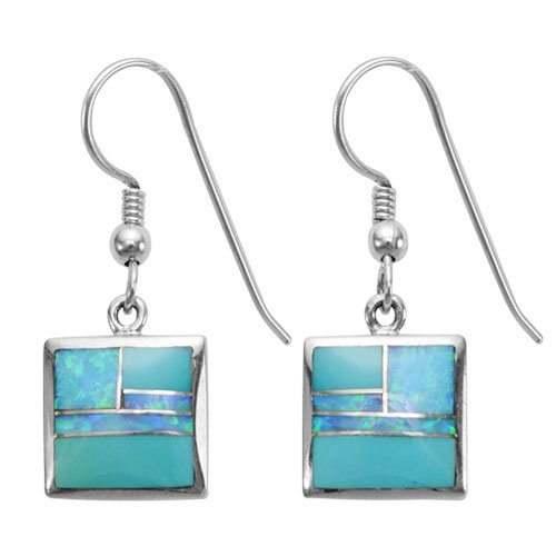 Square Silver Inlay Earrings