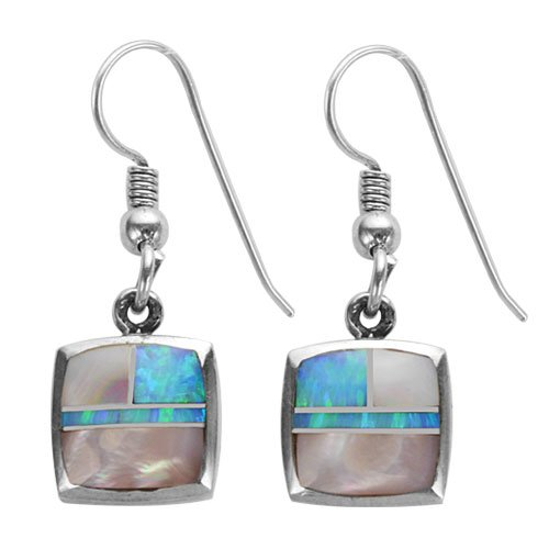 Square Cushion Silver Inlay Earrings