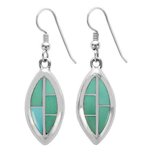 Vertical Marquise Tile Silver Inlay Earrings