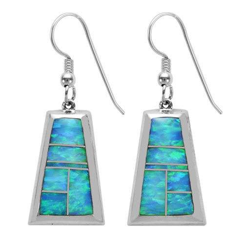 Half Round Trapezoid Bordered Silver Inlay Earrings