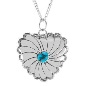Navajo Silver Heart With Sleeping Beauty Turquoise Necklace