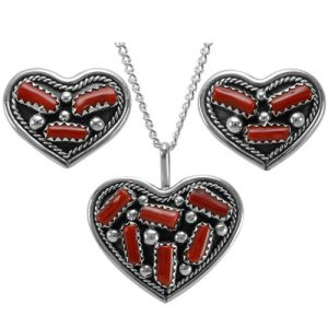 Navajo Silver Heart with Coral Earrings & Pendant Set