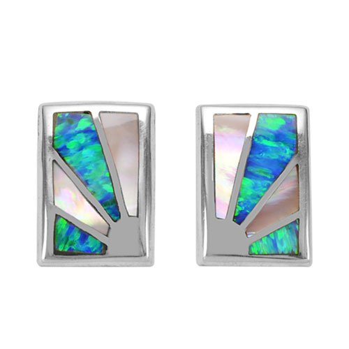 Rectangle Abstract Sun Ray Silver Inlay Earrings