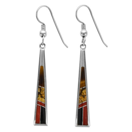 Tapered Silver Inlay Earrings - Small