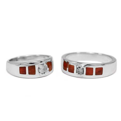 Silver Rings with Gemstone Wedding Band Set