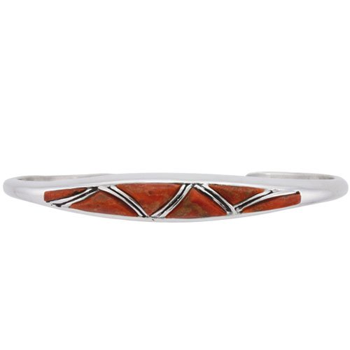 Tapered Channel Cobble Cut Silver Inlay Bracelet