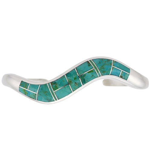 Tapered Silver Inlay Wave Bracelet